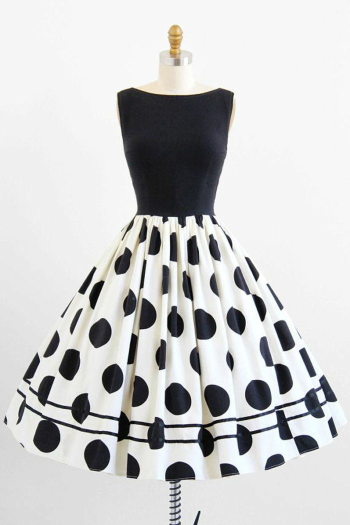 La robe vintage année 60 avec comment etre une femme stylée pois noirs sur base blanche et top noir