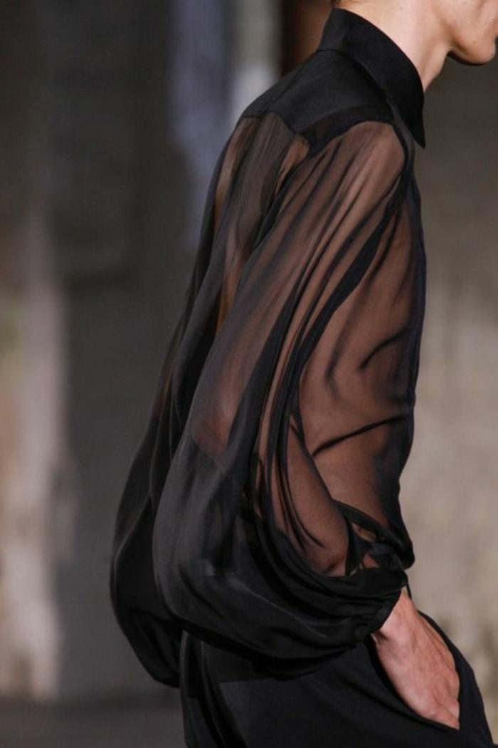 année 80 mode chemisier en tissu transparent noir organza avec col fermé