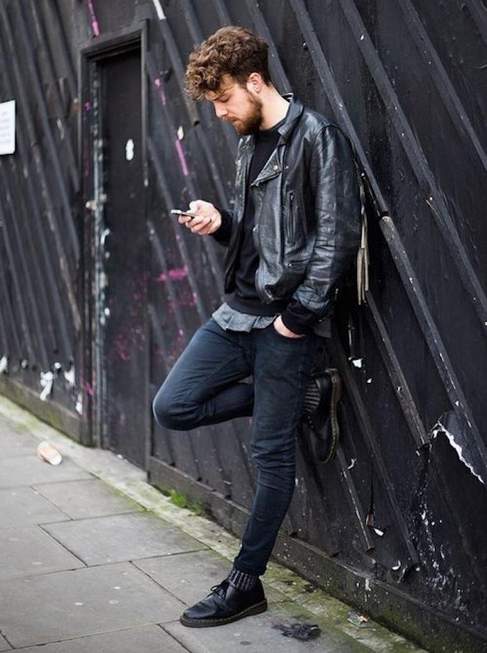 vêtement grunge look hipster rock simple tenue noire homme blouson perfecto