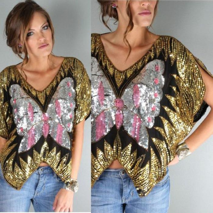 mode année 80 blouse à sequins manches courtes à fentes col en V motif papillon brillant