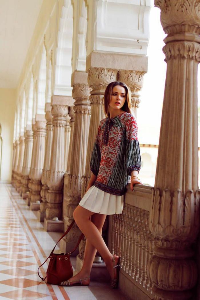 robe tunique aux imprimés ethniques et manches longues bouffantes