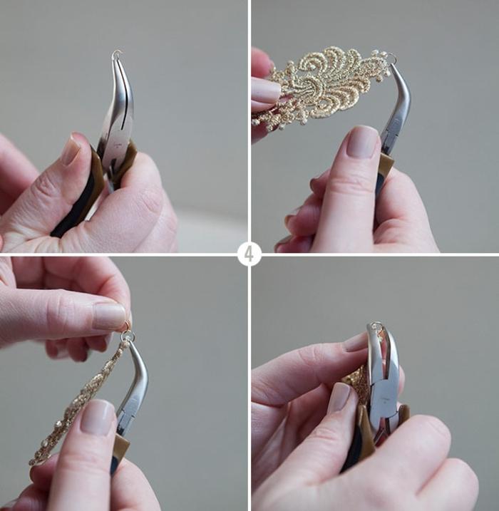 monter les anneaux brisés sur l applique dentelle, idée comment créer une deco dentelle, des boucles d oreille diy a faire soi meme