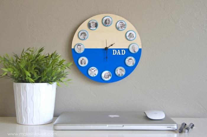 idée horloge customisée avec de la peinture jaune et bleue et des photos enfant, cadeau fete des peres, mouvement horlogerie à monter soi meme