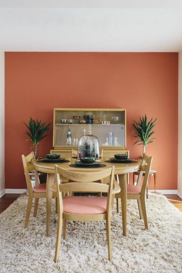 mur couleur saumon, chaises élégantes en bois et tissu, tapis beige moelleux-buffet-vitré