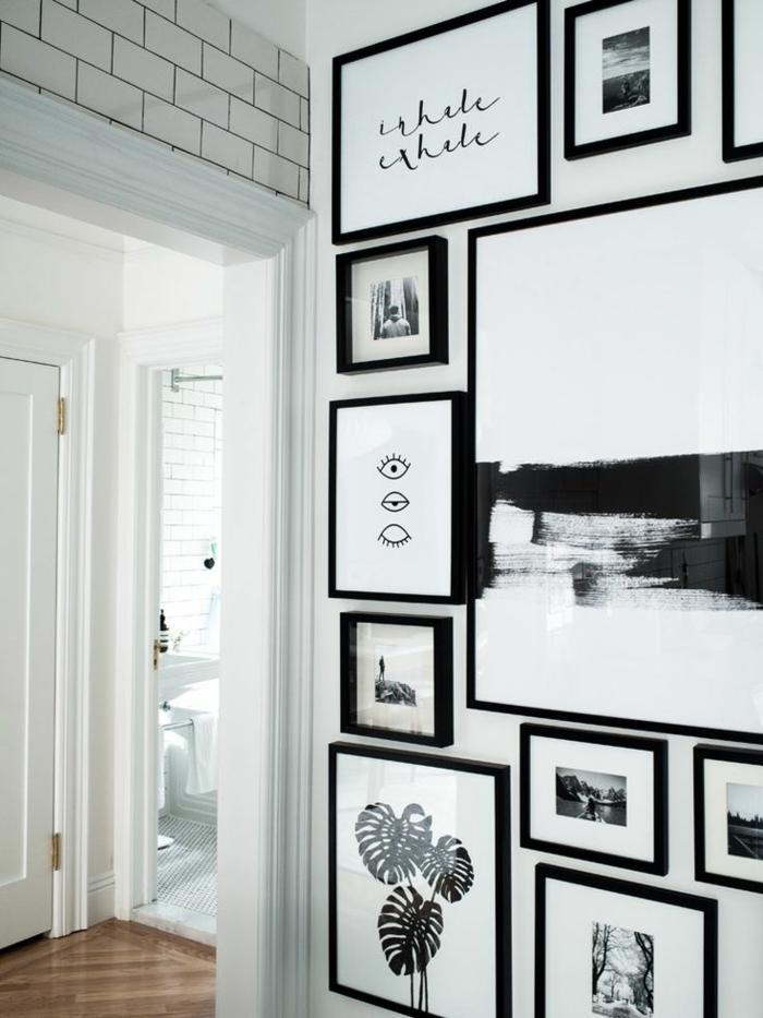cadre mural, porte blanche, photos blanc et noir, décoration murale en motifs briques
