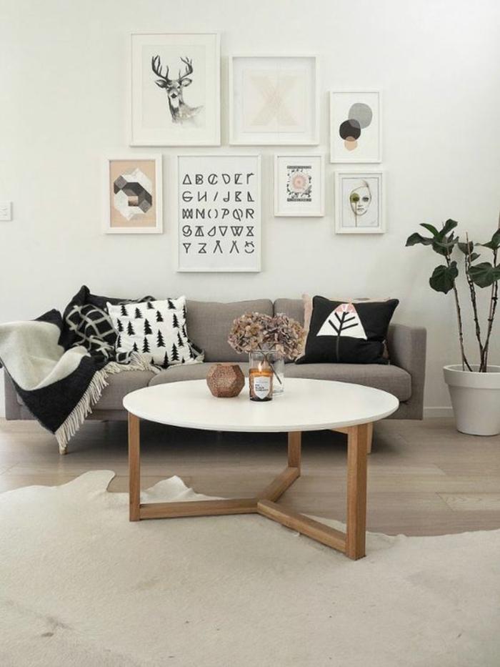 cadre rectangulaire, table en bois, tapis blanc, parquet stratifié, plantes vertes, coussin noir