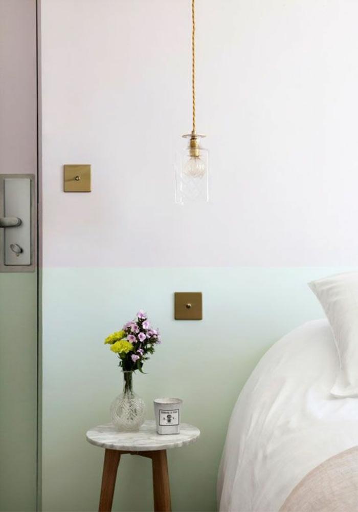 1001 id es pour une lampe de chevet suspendue dans la - Table de chevet en verre ...