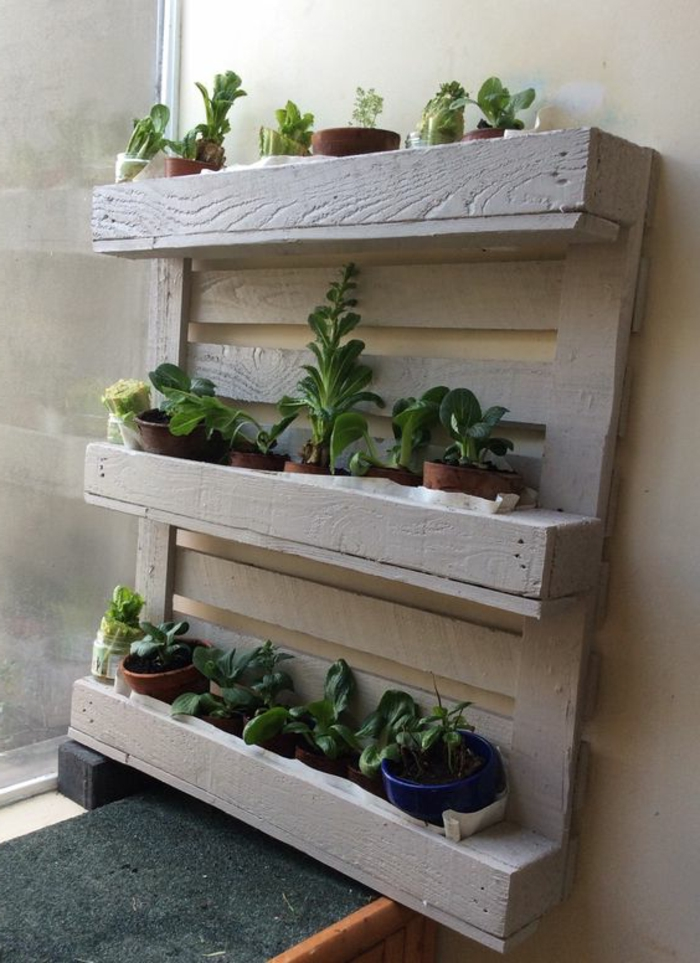 mur végétal en palette, palette découpé en deux et peinte blanche transformée en jardinièrem