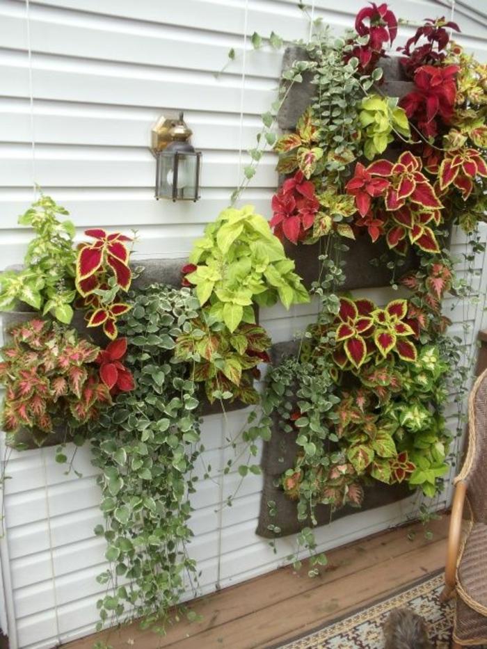mur vegetal palette, un mur blanc avec des palettes fleuries, jolie décoration végétale