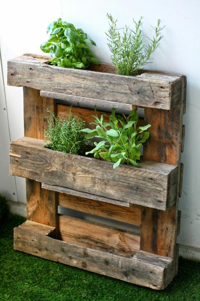 mur vegetal palette, palette en bois transformée en petit jardin vertical