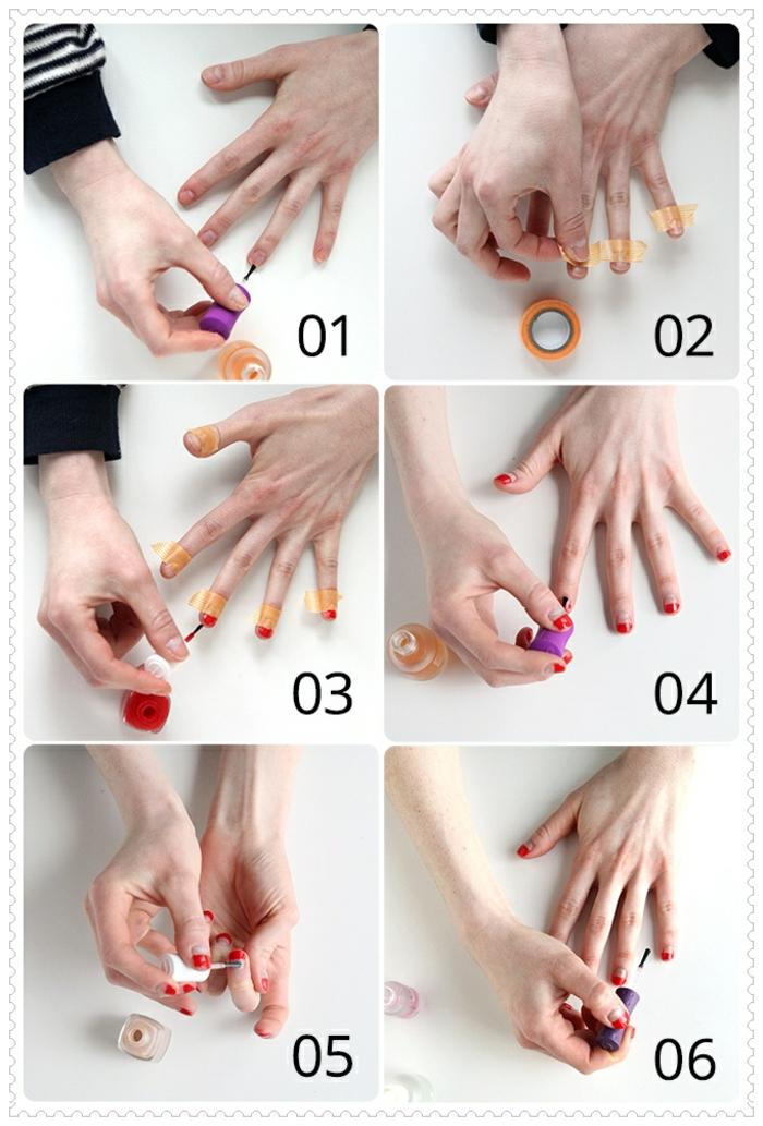 comment faire une manucure, ongles courts, masking type, vernis à ongles rouge, top coat, manucure française en rouge
