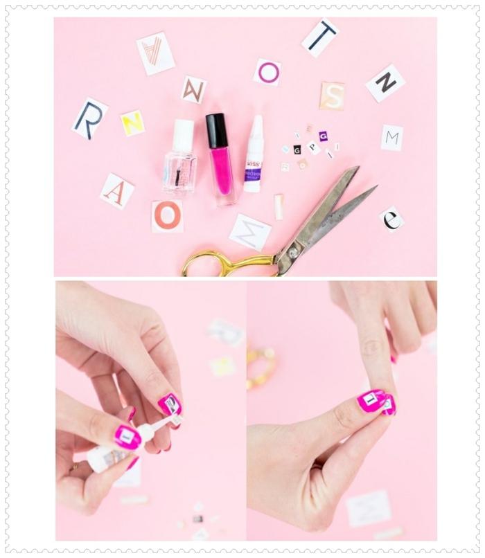 comment avoir de beaux ongles, décoration nail art, vernis rose, lettres, manucure maison