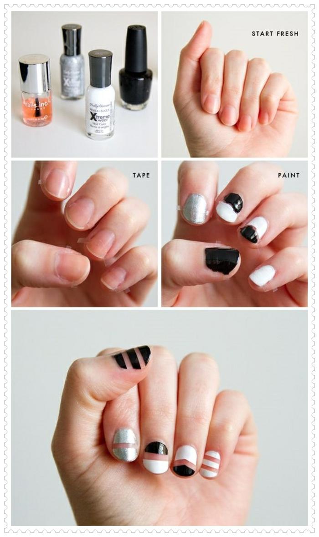 comment faire une manucure, ongles blanc et noir, lignes géométriques, tuto nail, manucure maison