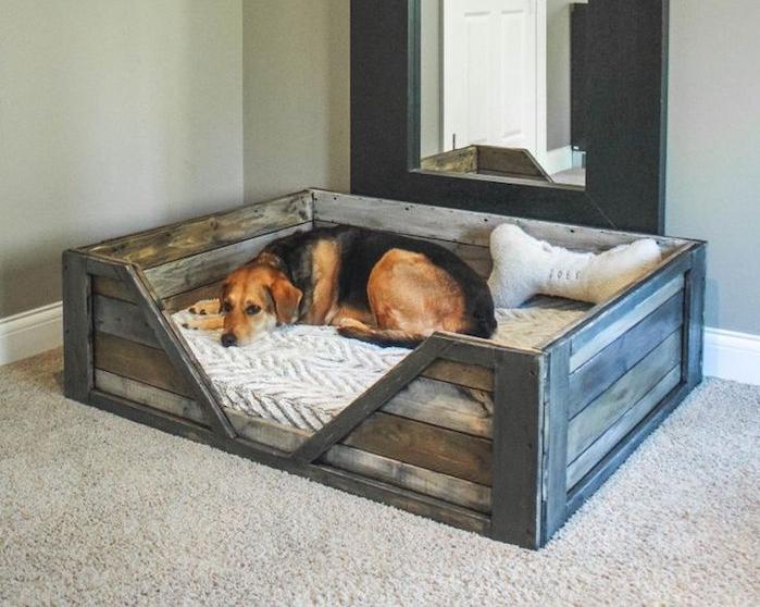 couchage chien panier pour grands chiens bois