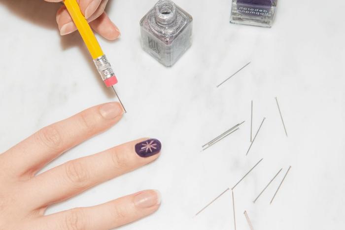 tuto nail art, pinceau à ongles, vernis en effet argent, décoration ongles, ongle manucure