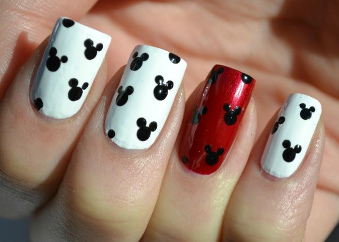 comment faire une manucure, dessin animaux sur les ongles, manucure blanc et rouge, décoration nail avec dotting tool