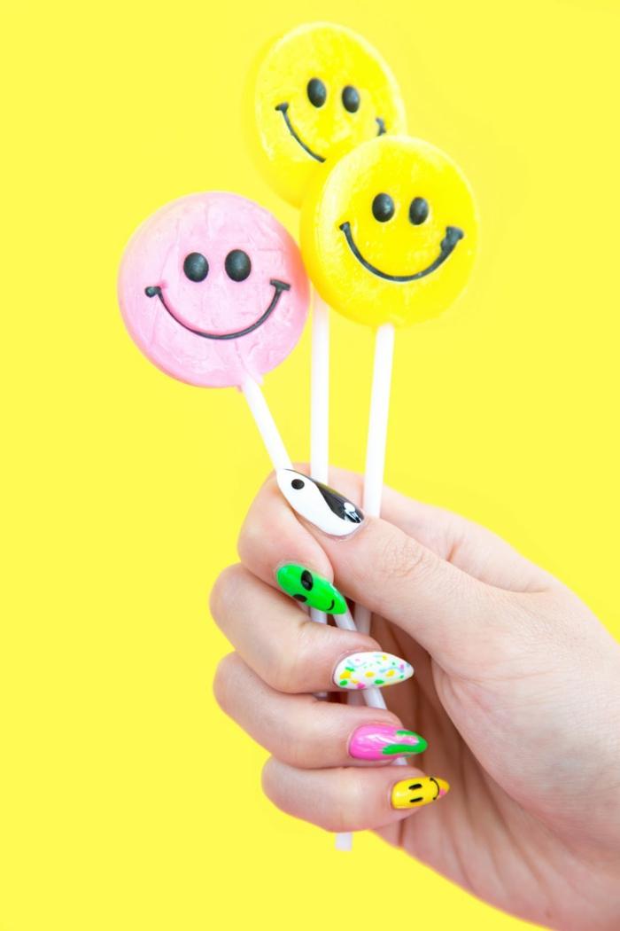 comment avoir de beaux ongles, popstickles, manucure multicolore, dessins sur les ongles