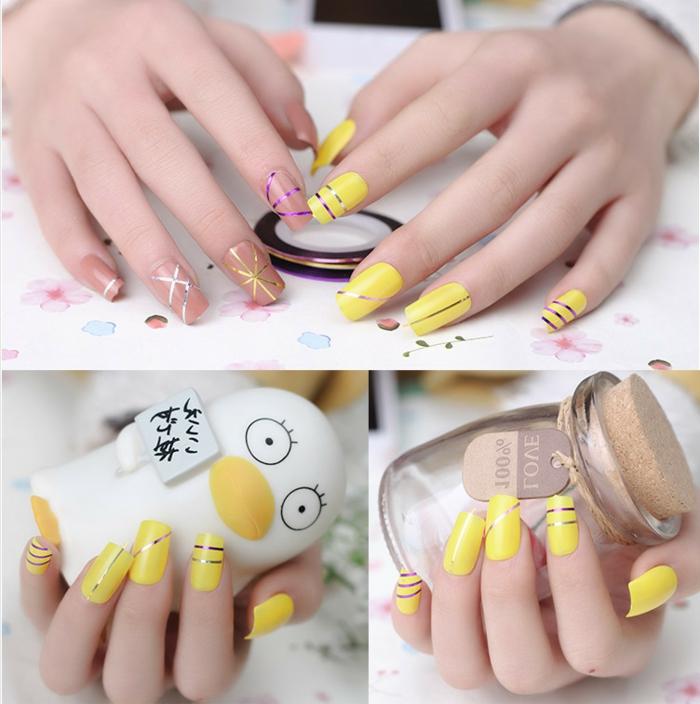 comment faire une manucure, ongles longs, vernis nude, vernis à ongles jaune, bande ongles, manucure maison
