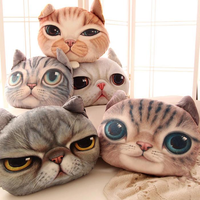 coussin tete de chats realiste housse chat idée originale