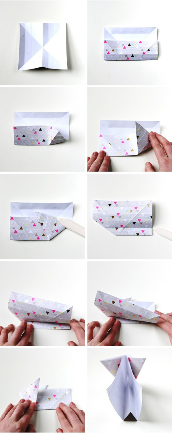 l'art de pliage papier, comment faire un lapin panier, tuto facile avec instructions