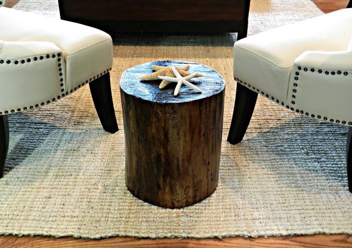 table basse rondin de bois verni laqué salon