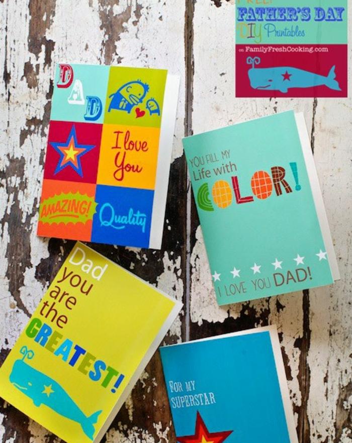 cadeau fête des pères à fabriquer, des carnets customisés, printables multicolores, idée de cadeau anniversaire papa personnalisé