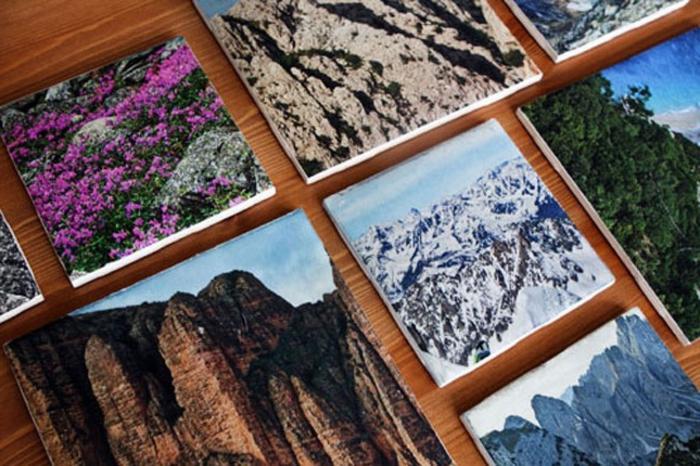 des paysages naturelles imprimés et collés sur des carreaux à l aide de vernis colle, technique découpage, idee cadeau fete des peres