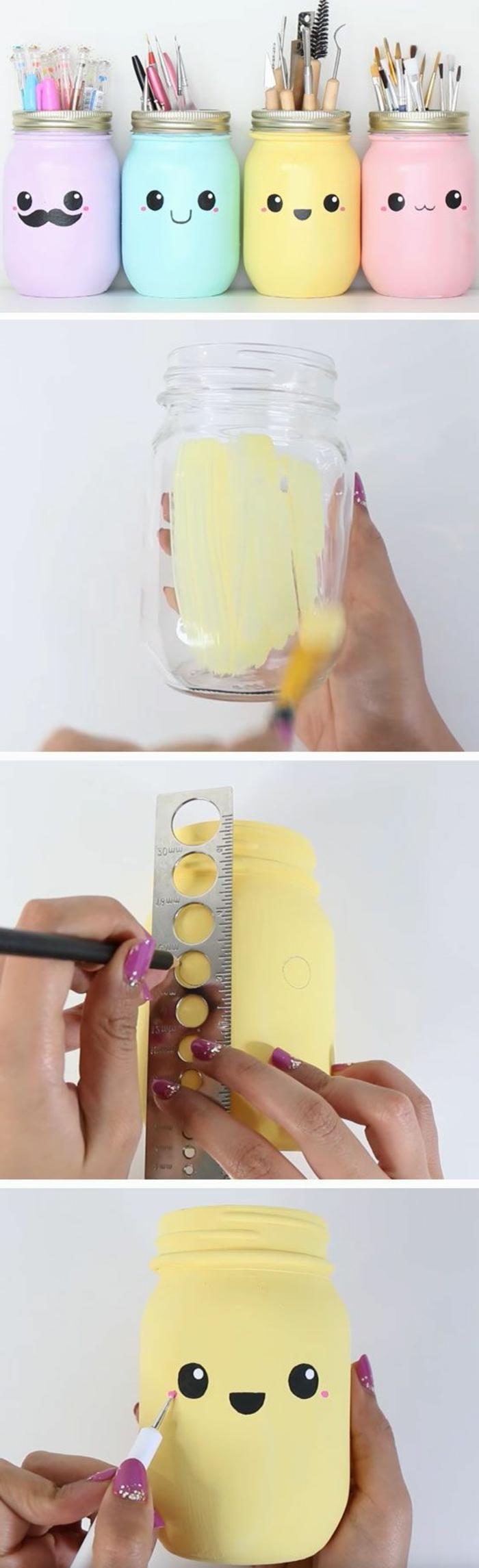 idée comment fabriquer un pot a crayon diy à partir de bocal en verre, repeint et décoré dessin bonhomme, idée de génie bricolage, activite manuelle