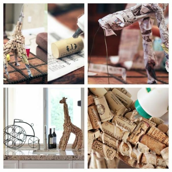 que faire avec des bouchons en liège, créer une girafe avec papier et fil tordu