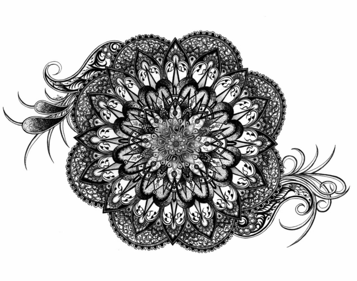 truc cool a faire quand on s ennuie, dessin mandala blanc et noir, mandala à imprimer, coloriage mandala, dessin mandala