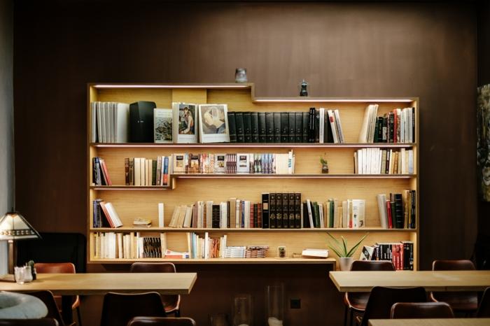 comment occuper son temps libre, rangement livre, bibliothèque en bois, lampe de bureau, chaise en bois, mur marron