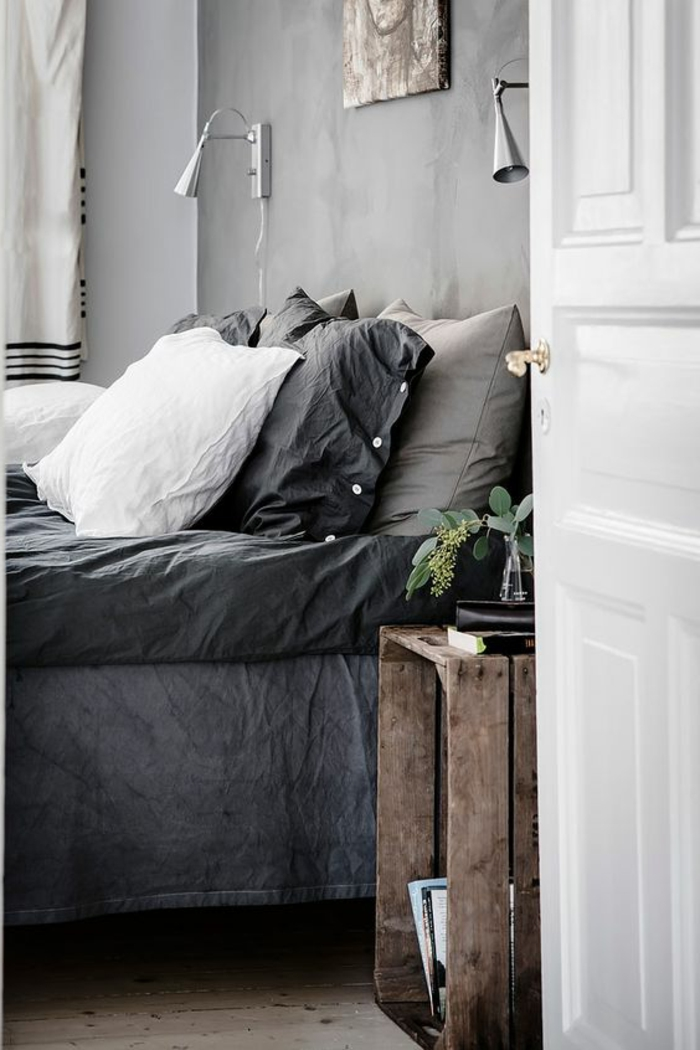 quelle couleur avec du gris, chambre à coucher, caisson transformé en chevet