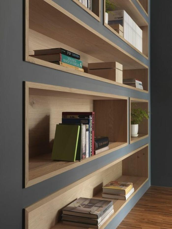 quelle couleur avec le gris, étagère en bois et gris, joli rangement de livres