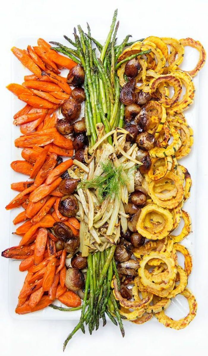 plateau de légumes grillées très coloré, plateau antipasti végétarien