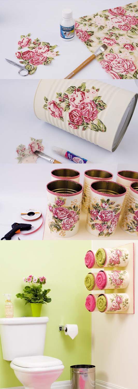 idee de recyclage boite de conserve, tutoriel pour créer un porte serviette dans la salle de bains à partir de boites de conserve customisées aux motifs fleurs, technique serviettage, decoration facile