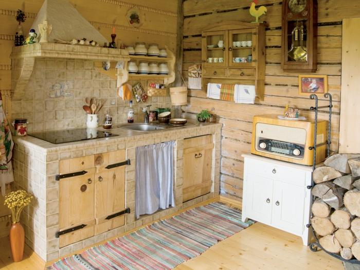 cuisine rustique, radio rétro, mur en bois, armoires de cuisine en bois, étagère murale en bois, cuisine équipée