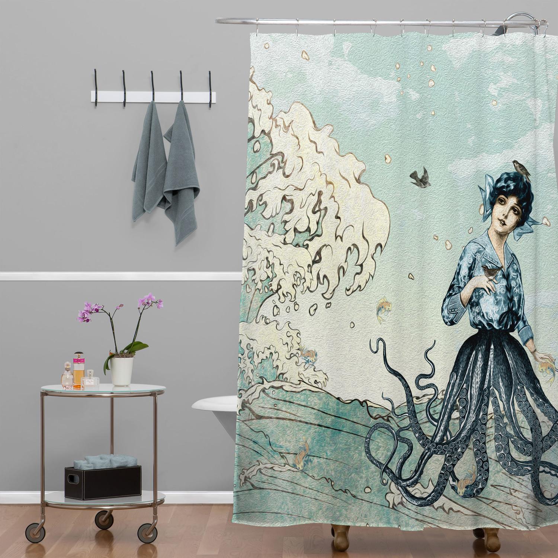 rideau de choude original motif artistique jules verne mer imaginaire pour salle de bain originale
