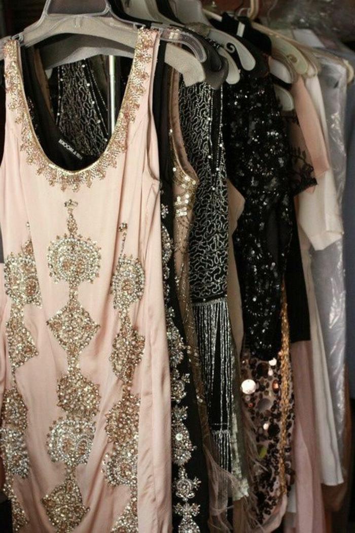 robe années folles, les robes des années vingt, modèles de robes en rose et noir