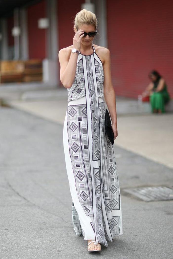 robe longue et fluide à l'imprimé ethnique géométrique, look monochrome ethnique