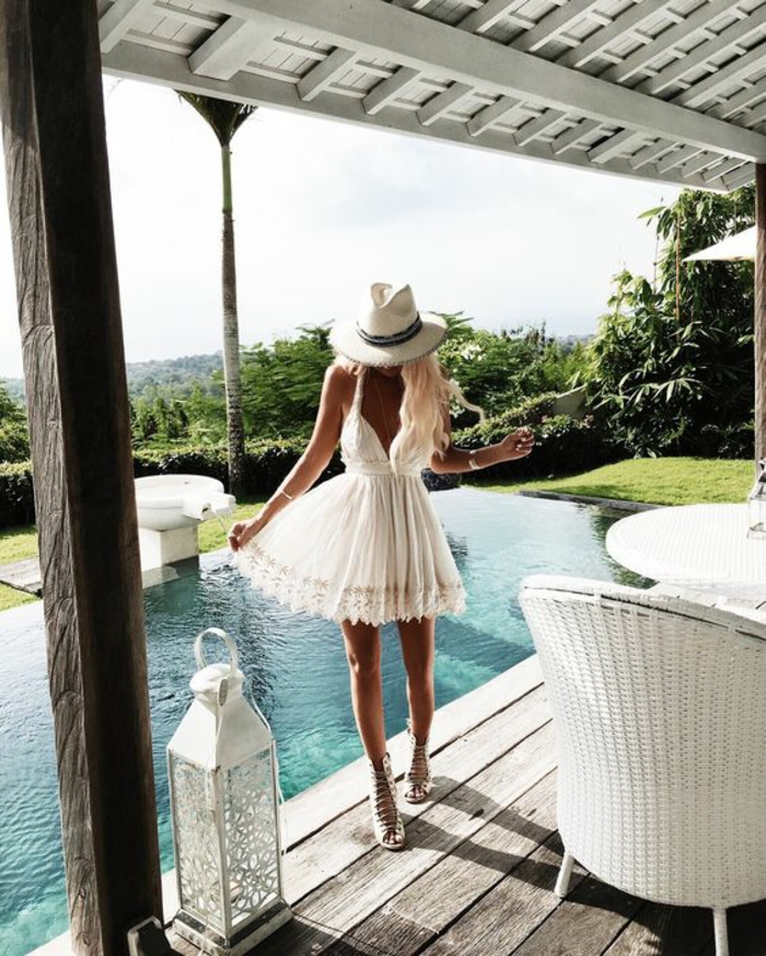 Sac boheme chic style bohème chic femme belle robe blanche dentelle courte