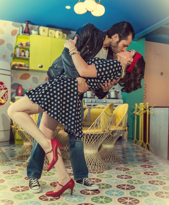 aa1cadaf970c6 Chic robe vintage année 50 robe guinguette idée couple amoureuse ...