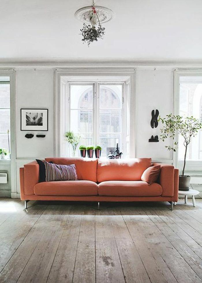 rose corail, sofa rose au sein d'un salon clair, sol en planhes de bois, salon lumineux