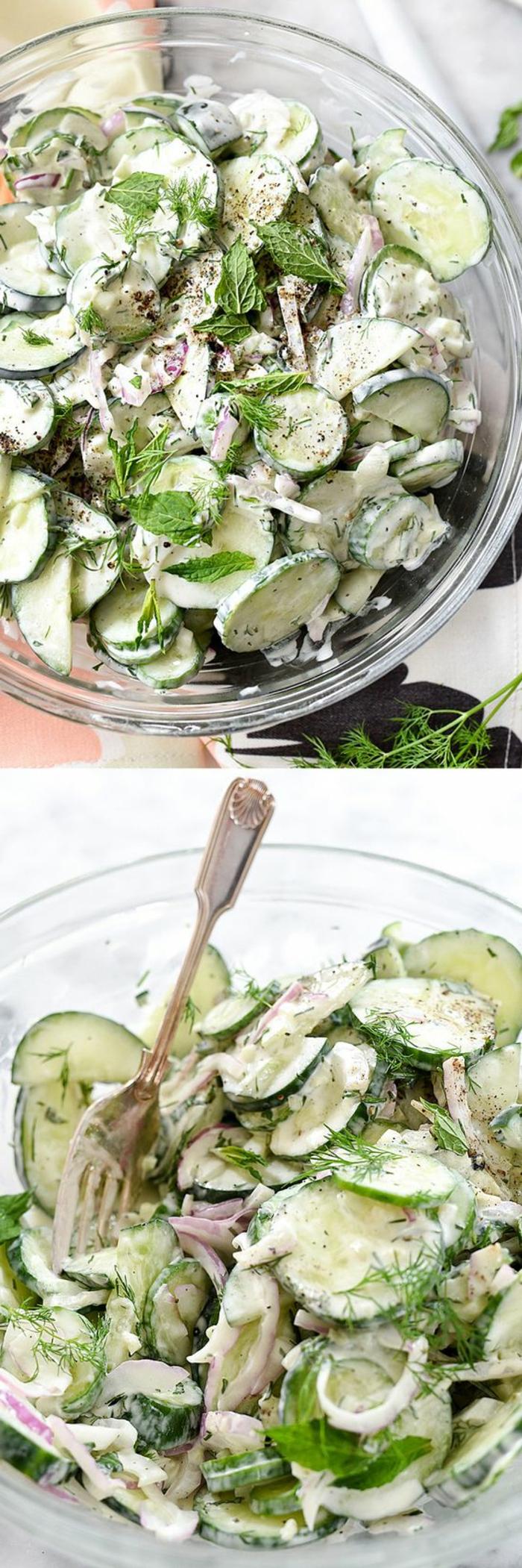 idee pique nique, salade picnic faicle et rapide, ingrédients concombres en rondelles, oignon rouge, aneth, yaourt, menthe, idée de repas pour aller passer une journée en plein air