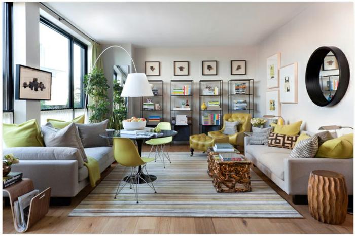 déco gris et ocre jaune, idée d'aménagement d'un salon moderne pour l'homme