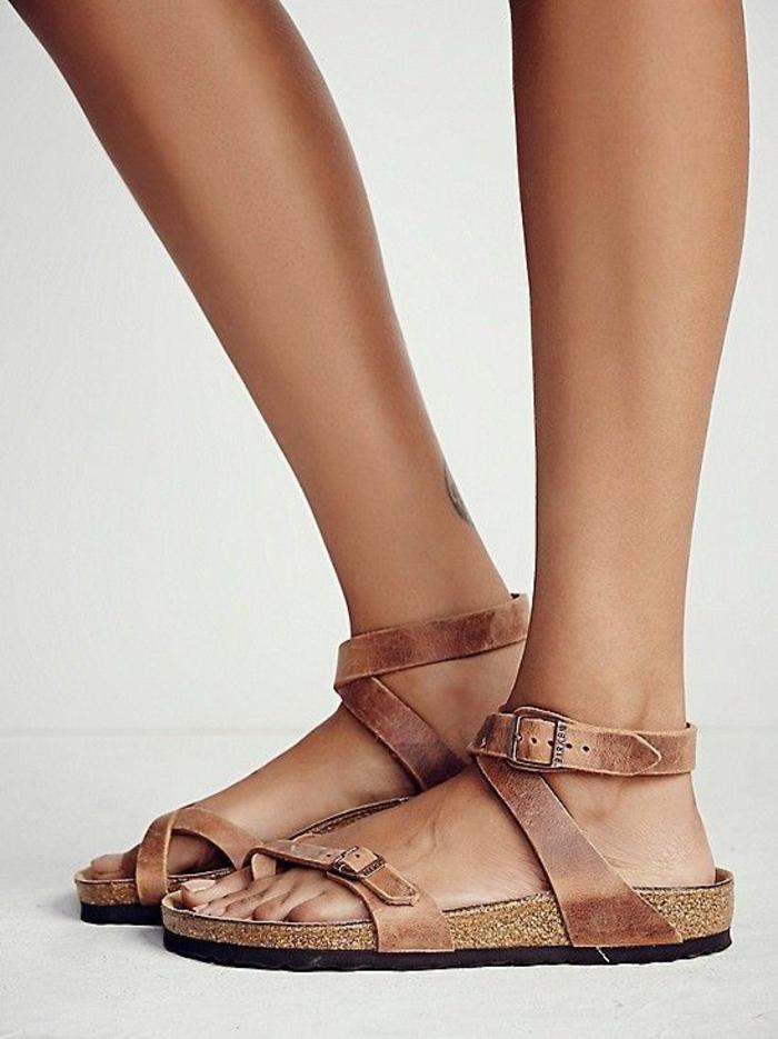 sandale femme Birkenstock anatomique plante confortable sandale à plateforme en marron clair