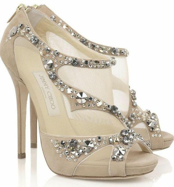 sandales pour femme mariage talons aiguilles fermeture éclair derrière parsemée de pierres brillantes