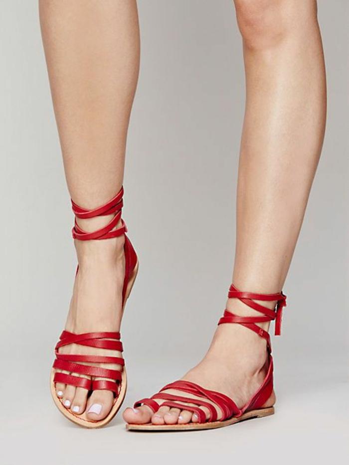 sandale rouge femme lanières sexy confort maximal style facile à combiner avec les vetements