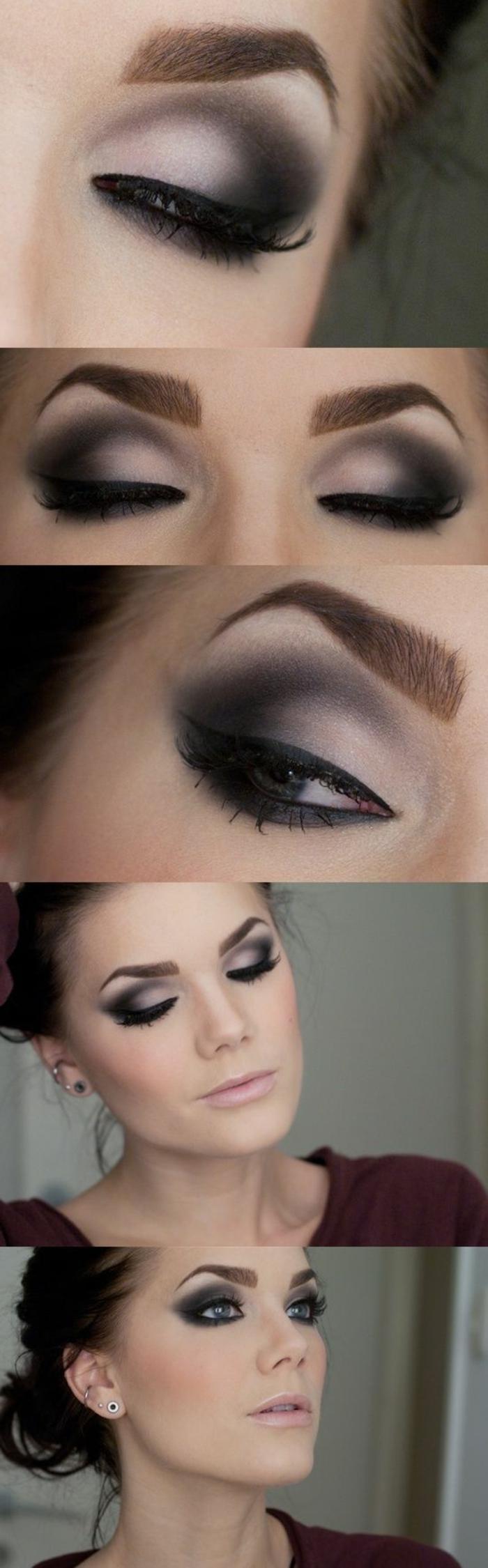 maquillage de tous les jours, blouse bordeaux, cheveux attachés, maquillage smoky, mascara noir