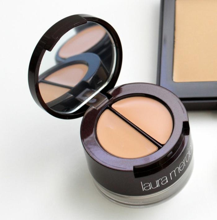 maquillage smoky, produits cosmétiques, laura mercier, correcteur pour les yeux, poudre translucide, pot infiltré