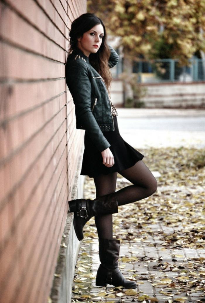 Look rock femme style rock chic tenue de jour rock tenue de jour noir